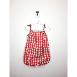 Gap Red Gingham Shorts Bubble Romper 18-24 months
